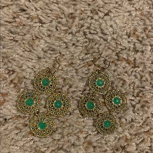 Stella & Dot earrings green and gold color.